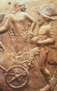 Fig.3 Mercury and Venus 'cavorting' in a 5th century BC bas relief.