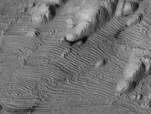 Fig. 3 Similar layering in Danielson crater. (NASA)