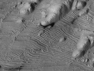 Fig. 3 Similar layering in Danielson crater. (NASA)