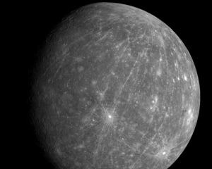 Fig. 1 Mercury as imaged by MESSENGER, with parallel gouged grooves from Valles Marineris.