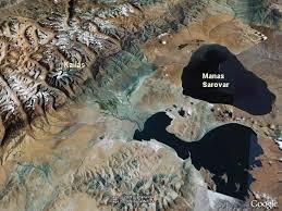 Fig. 3 Mt. Kailas upper-left showing high-level water mark of samudra