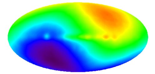 CMB dipole with blue = 2.721 K and red = 2.729 K. Imagined to show velocity of solar system relative to the CMB