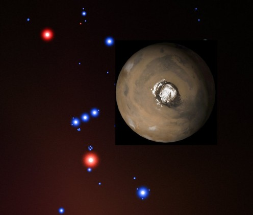 Figure 1. The size of Mars compared to Orion.