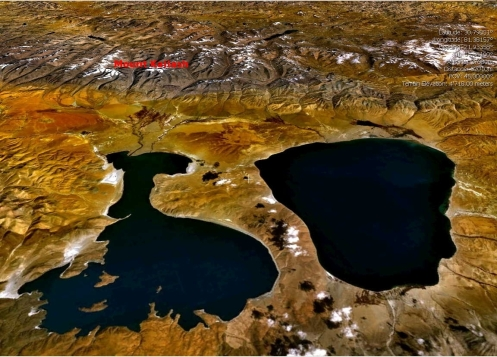 Figure 1 Lakes Manasarovar & Rakshastal with Kailas at top center