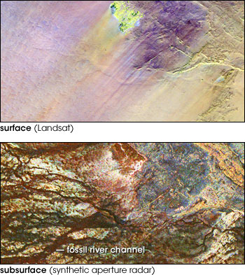 Fig. 4 Fossil riverine flows reveals beneath sand in western Africa