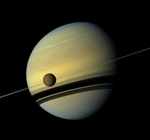 Figure 1. Saturn rings edge-on and largest moon Titan